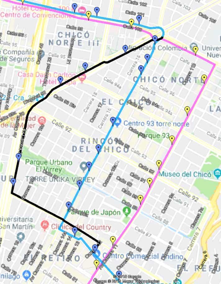 Ruta SITP: 193B Bachué - Marly (desvíos por ciclovía)