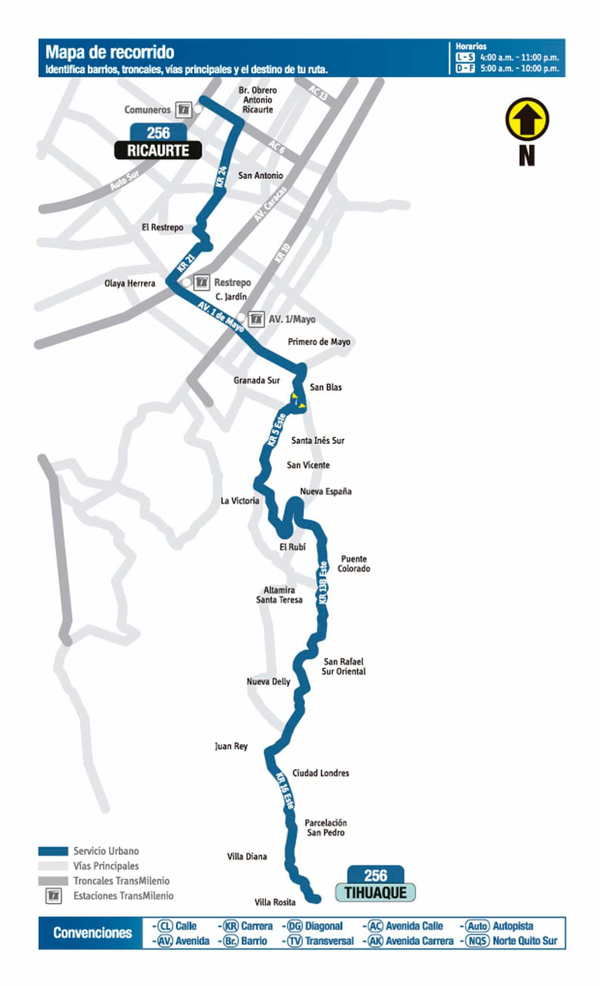 Ruta bus SITP: 256 Tihuaque - Ricaurte (mapa)