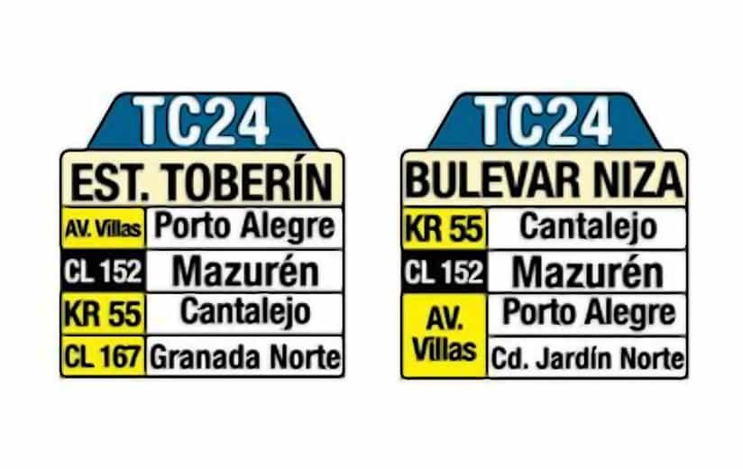 Bus TC24 Estación Toberín - Bulevar Niza (tablas)