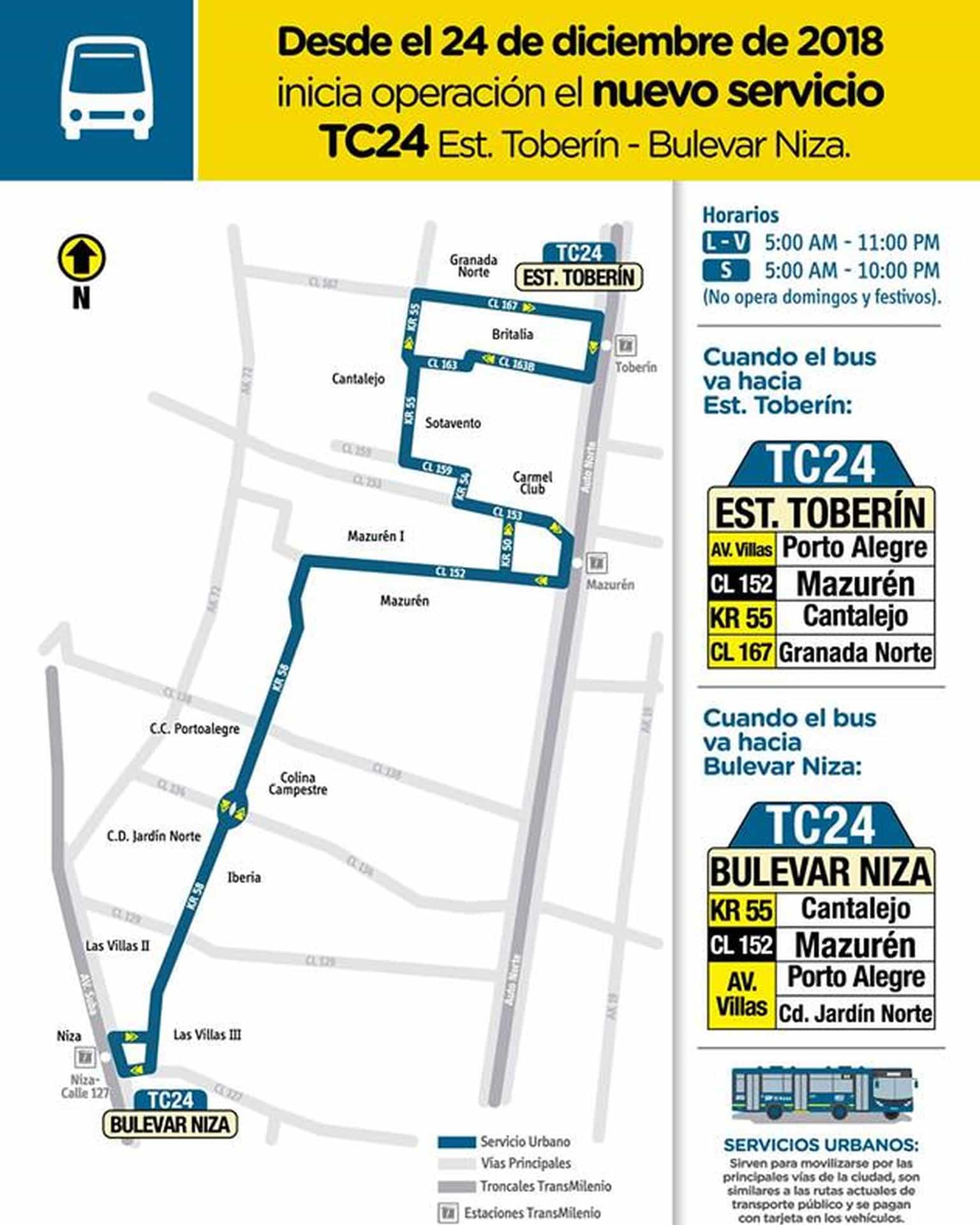 Bus TC24 Estación Toberín - Bulevar Niza (mapa)