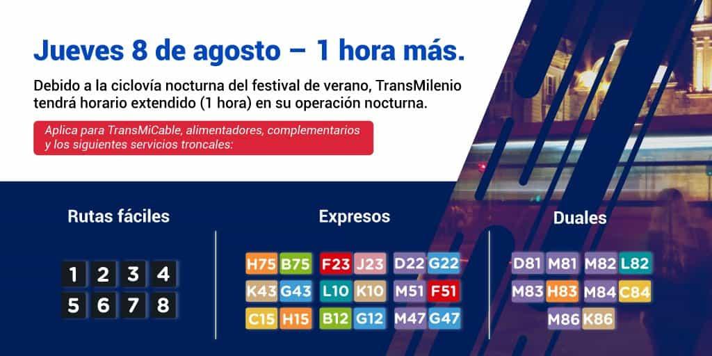 Amplicación de horarios por Ciclovía Nocturna agosto 8 de 2019