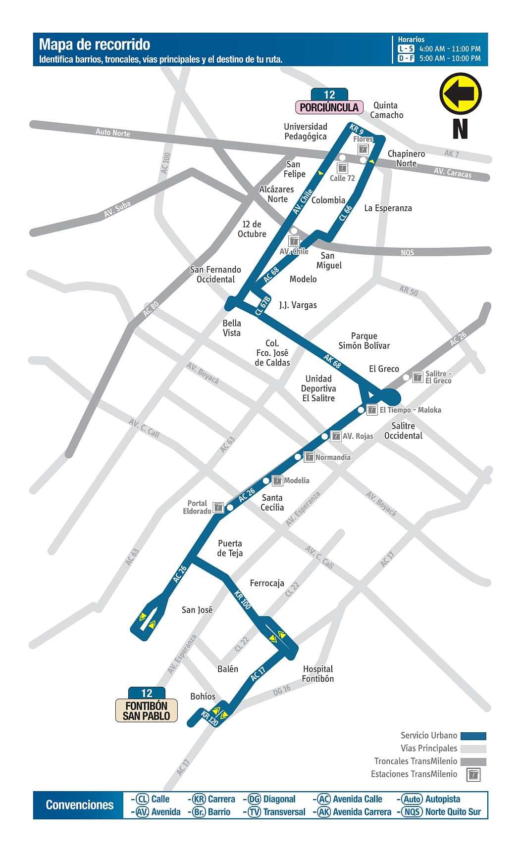 Mapa bus urbano 12 Fontibón San Pablo - Porciúncula