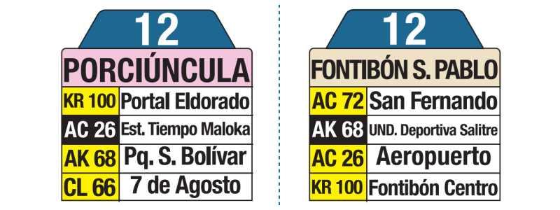 Tablas bus urbano 12 Fontibón San Pablo - Porciúncula