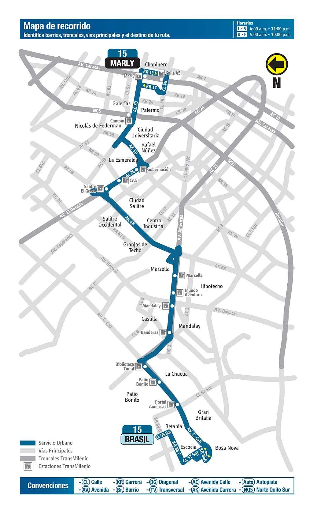 Mapa bus urbano: 15 Marly - Brasil