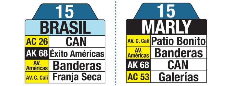 Tablas bus urbano: 15 Marly - Brasil