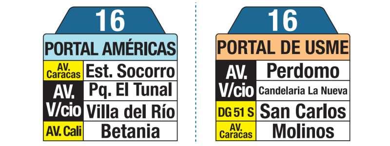 Tablas bus urbano 16 Portal Américas - Portal de Usme