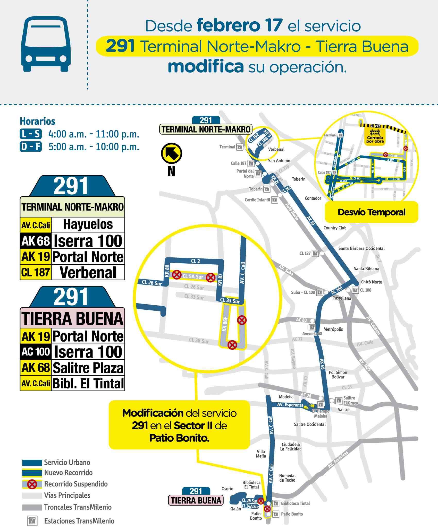 Mapa ruta 291 Terminal Norte, Makro - Tierra Buena