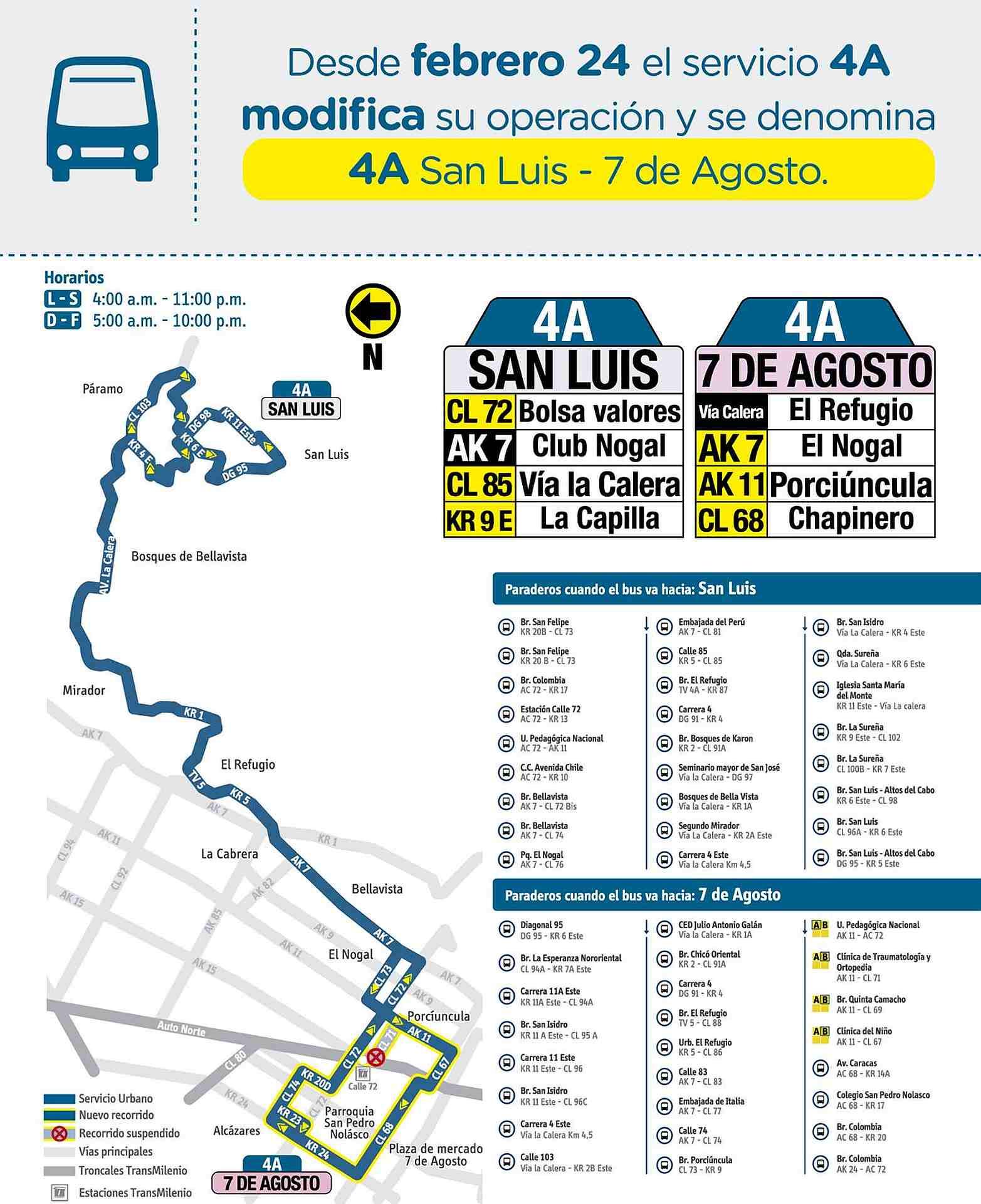 Mapa bus - 4A - San Luis - 7 de Agosto