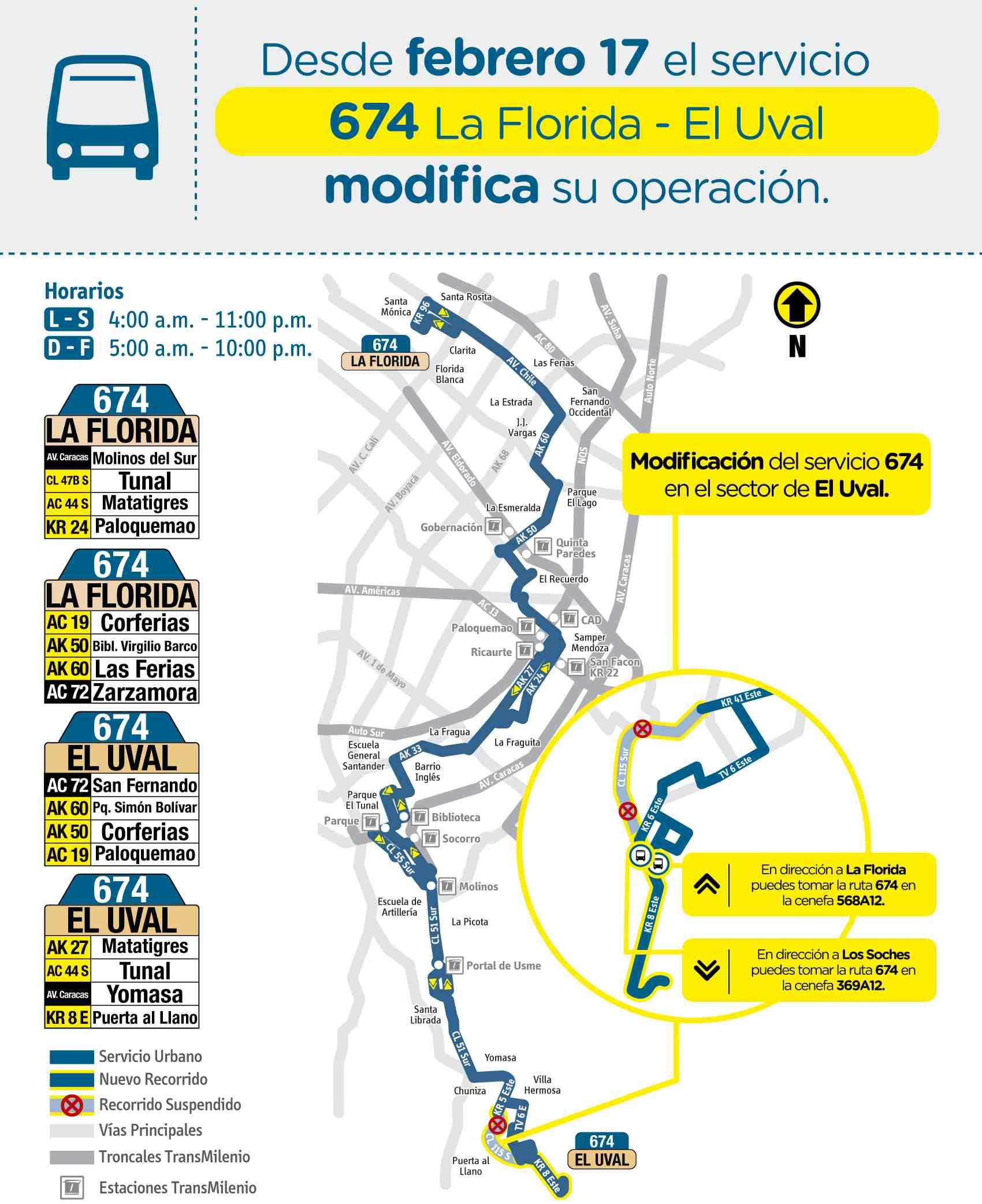 Mapa ruta 674 Engativá Centro - El Uval