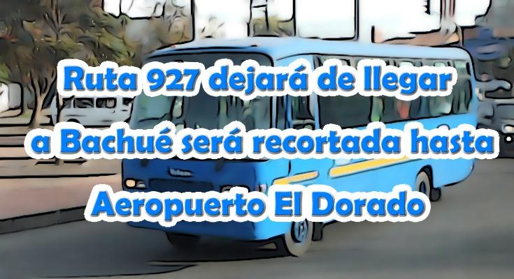 Ruta urbana 927 recortada hasta el Aeropuerto El Dorado