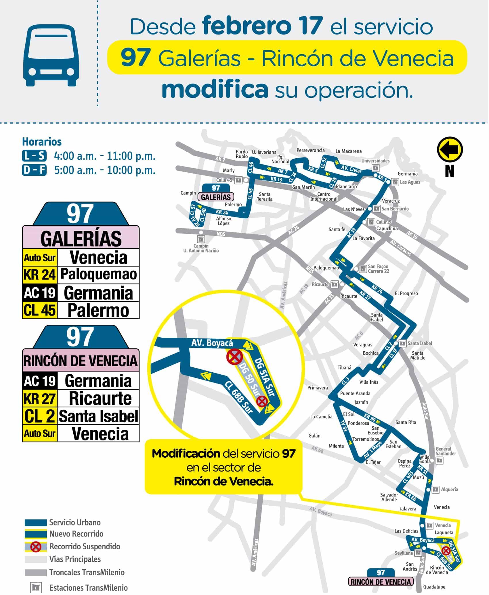 Mapa ruta urbana 97 Galerías - Rincón de Venecia