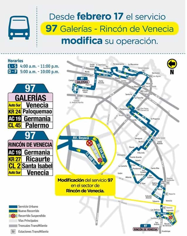 Mapa ruta urbana 97, cambios desde febrero de 2020