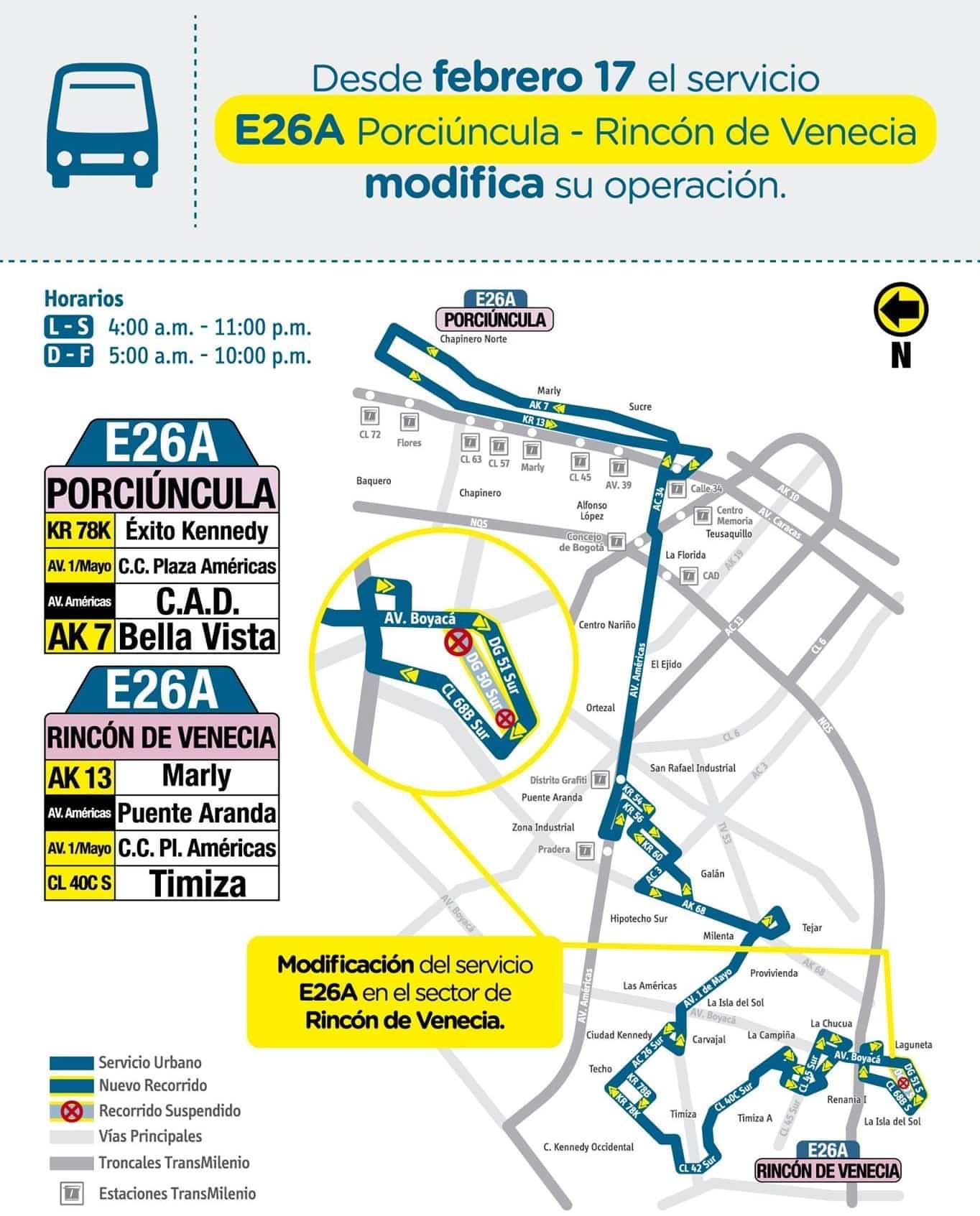 Mapa de la ruta E26A desde el 17 de febrero de 2020