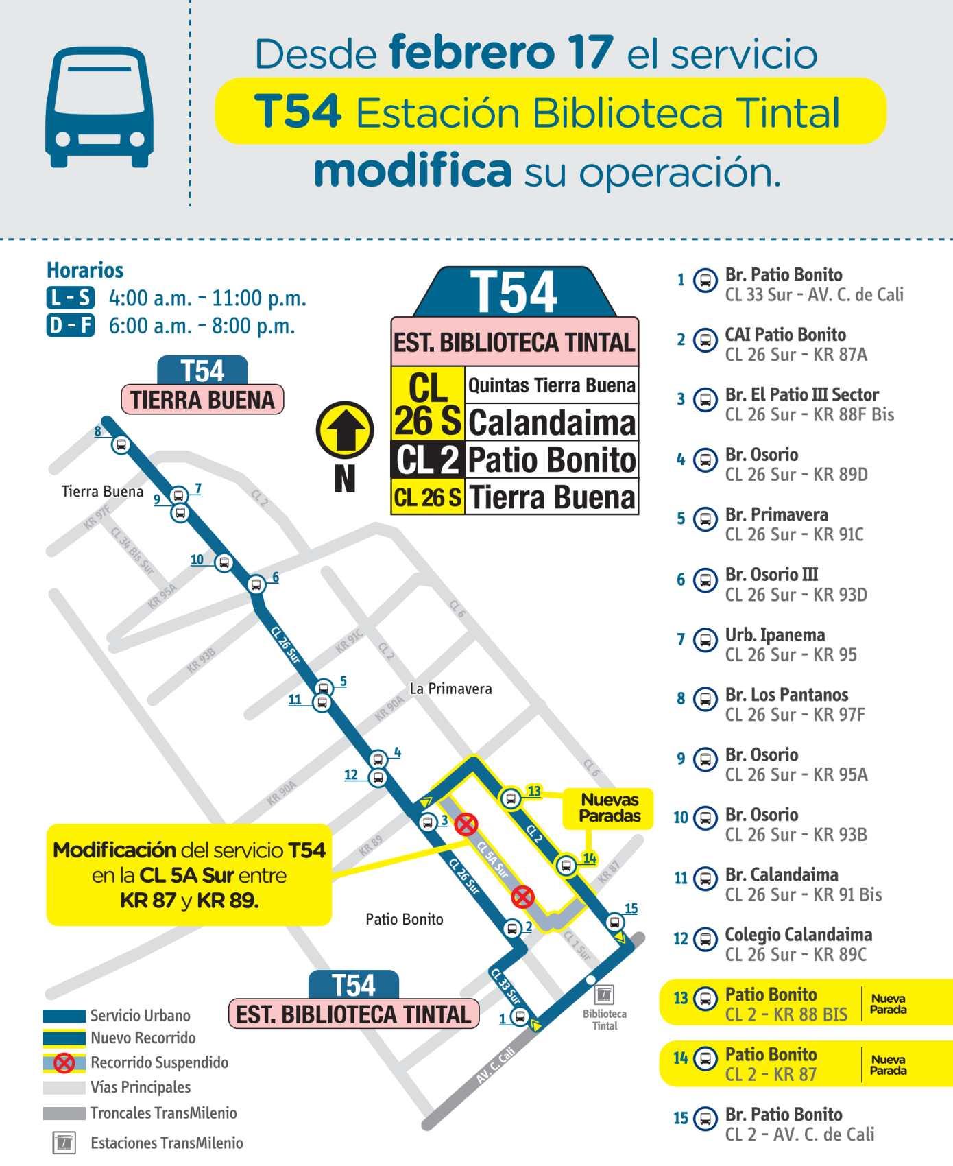 Mapa ruta urbana T54 Estación Biblioteca Tintal