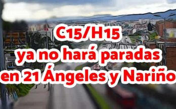 Aviso cambio de paradas en ruta C15-H15
