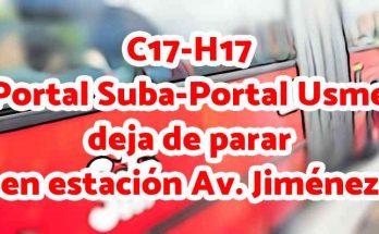 Aviso de que el C17-H17 ya no para en Av. Jiménez