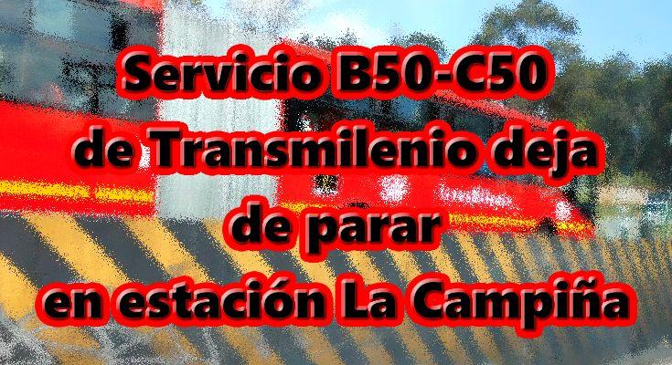B50-C50 ya no para en Trasnversal 91