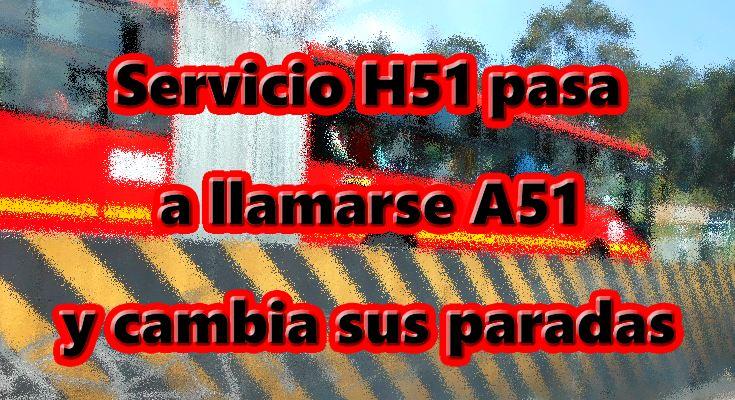 Nuevo servicio A51 de Transmi
