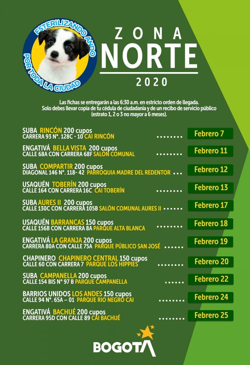 Esterilizaciones programadas para la Zona Norte en Bogotá, febrero de 2020