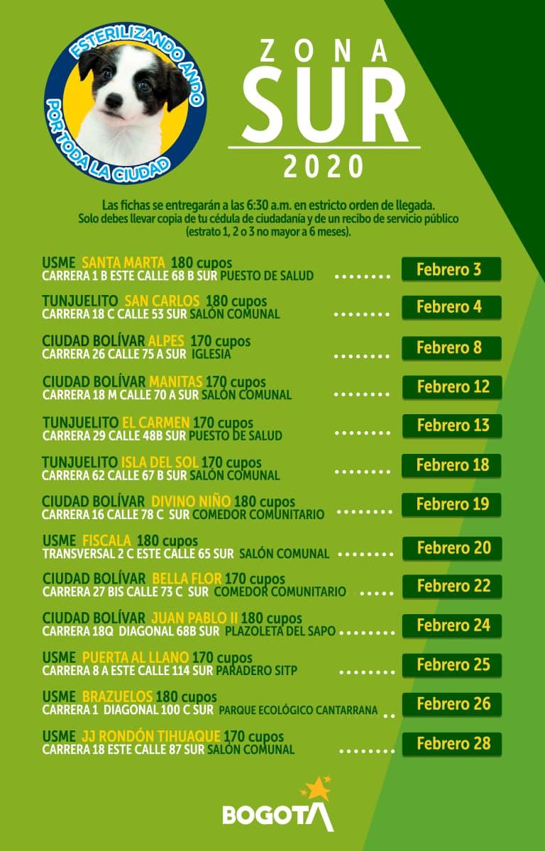 Esterilizaciones programadas para la Zona Sur en Bogotá, febrero de 2020