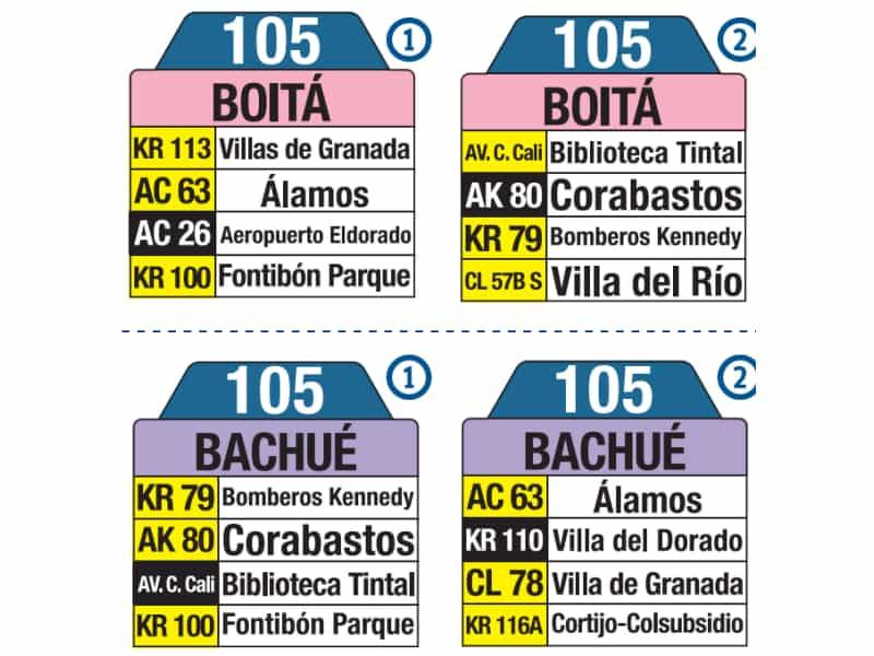 105 Boitá - Bachué, letreros y tablas bus urbano Bogotá