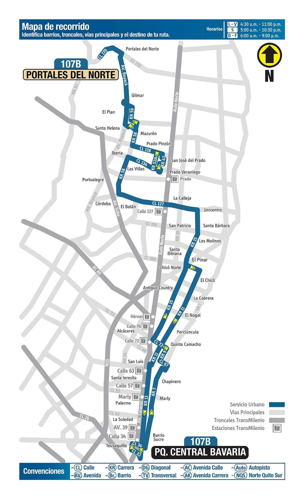 107B Portales del Norte - Parque Central Bavaria, ruta bus urbano Bogotá