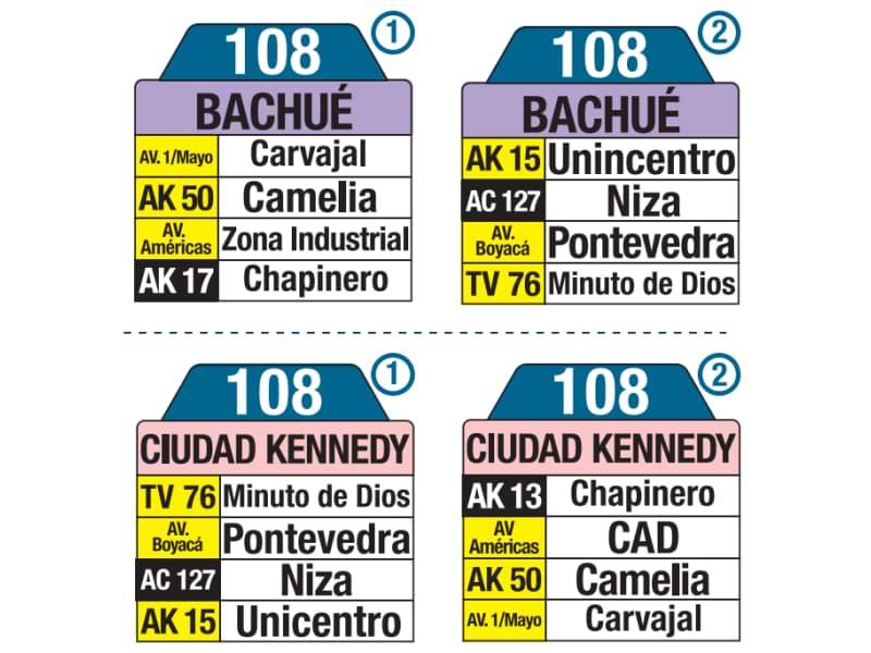 108 Bachué - Ciudad Kennedy, tablas y letreros bus urbano SITP
