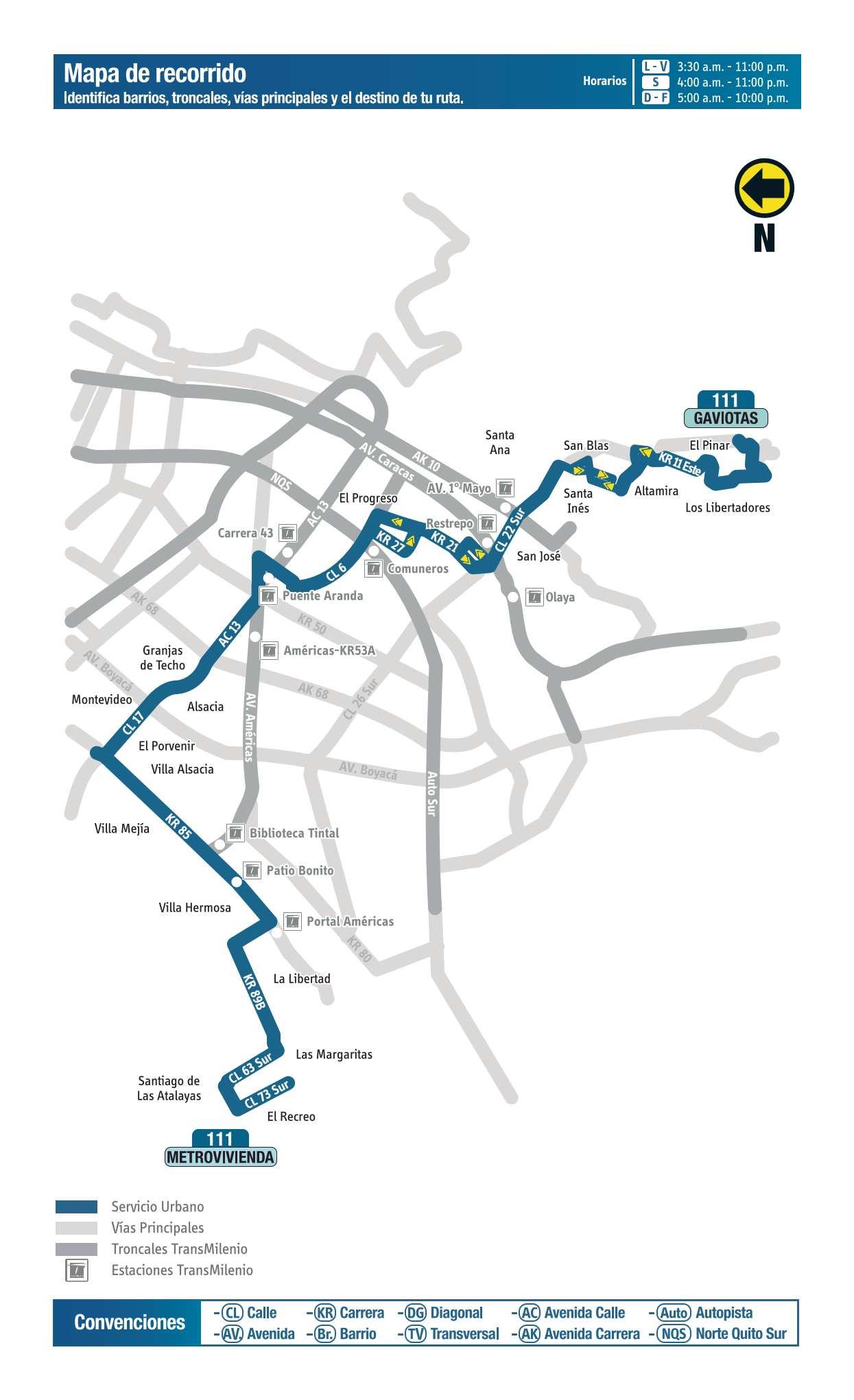 111 Gaviotas - Metrovivienda, ruta bus urbano Bogotá
