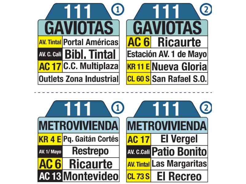 111 Gaviotas - Metrovivienda, tablas y letreros bus urbano SITP
