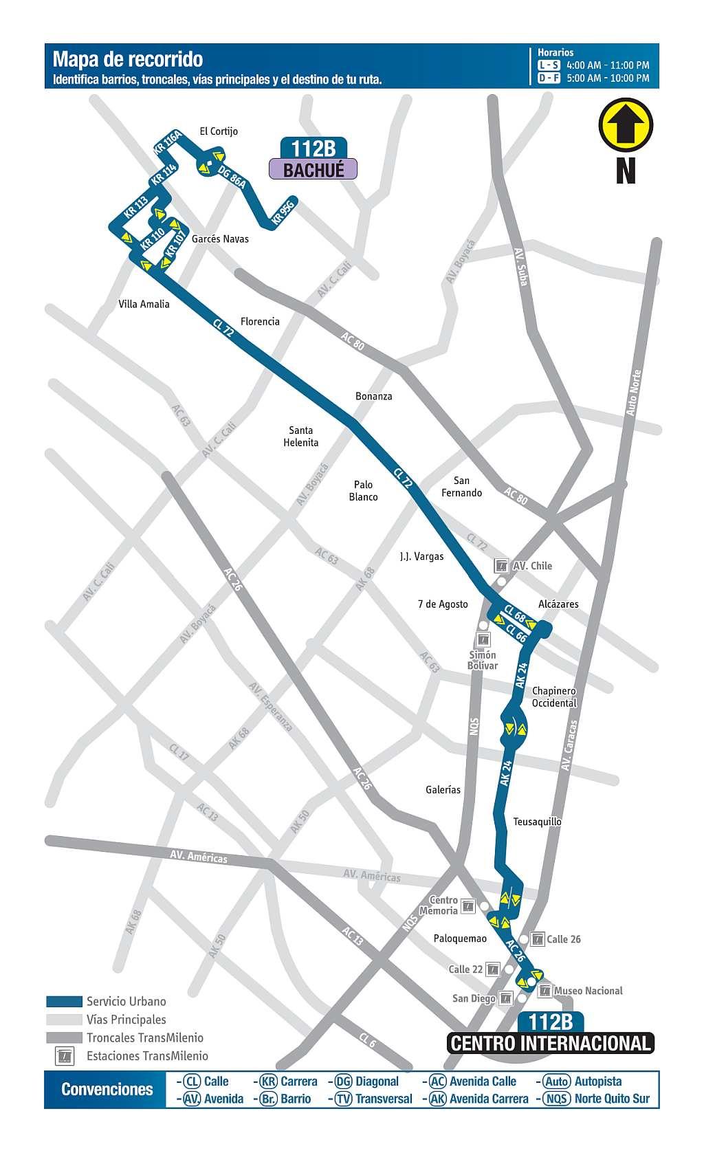 112B Bachué - Centro Internacional, ruta bus urbano Bogotá