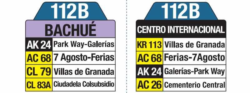 112B Bachué - Centro Internacional, tablas y letreros bus urbano SITP