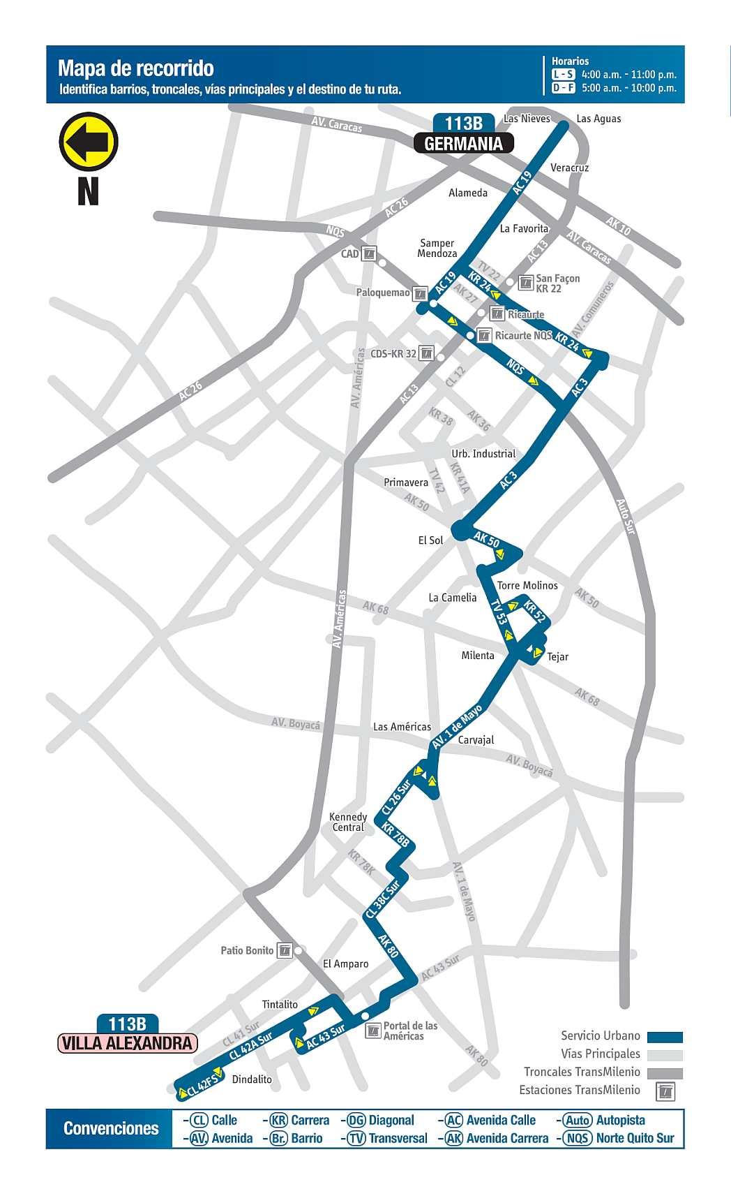 113B Germania - Villa Alexandra; ruta bus urbano Bogotá