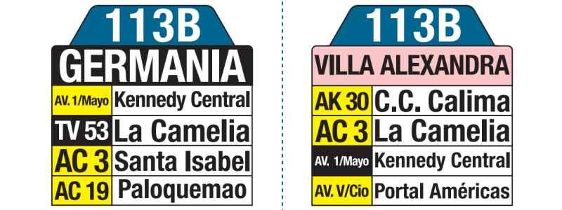 113B Germania - Villa Alexandra; tablas y letreros bus urbano SITP
