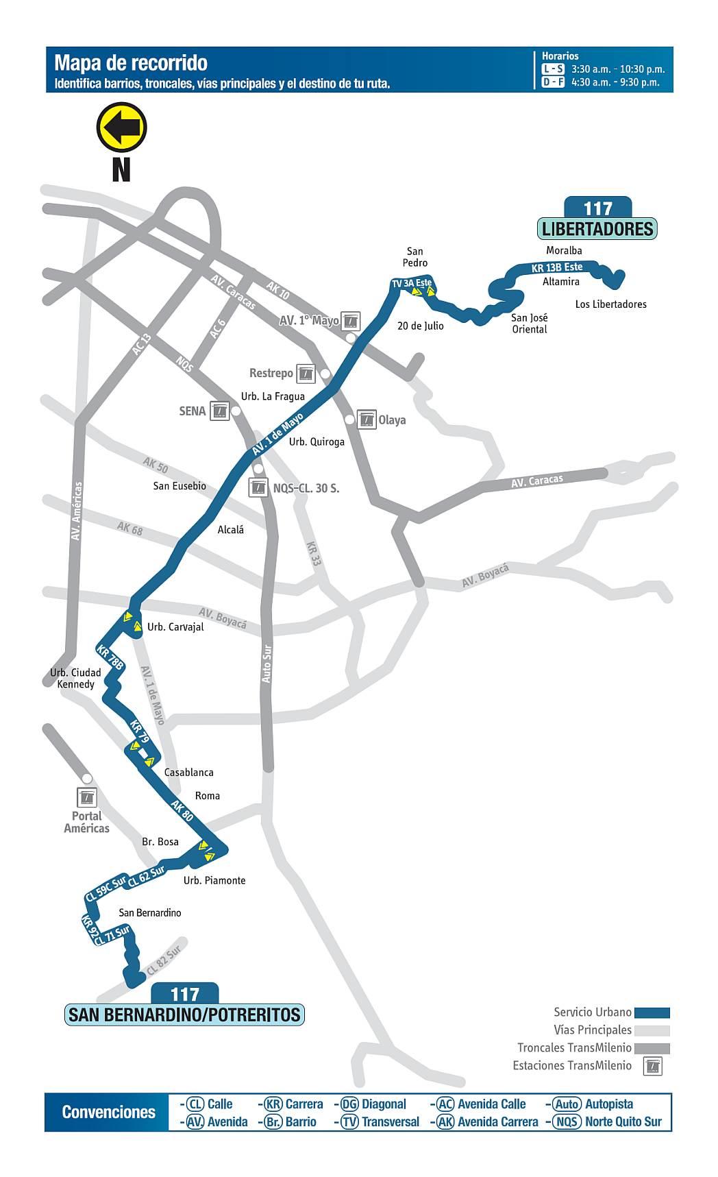 117 San Bernardino - Potreritos - Libertadores, ruta bus urbano Bogotá