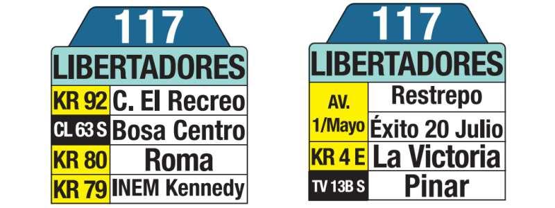 117 San Bernardino - Potreritos - Libertadores, tablas y letreros bus urbano SITP