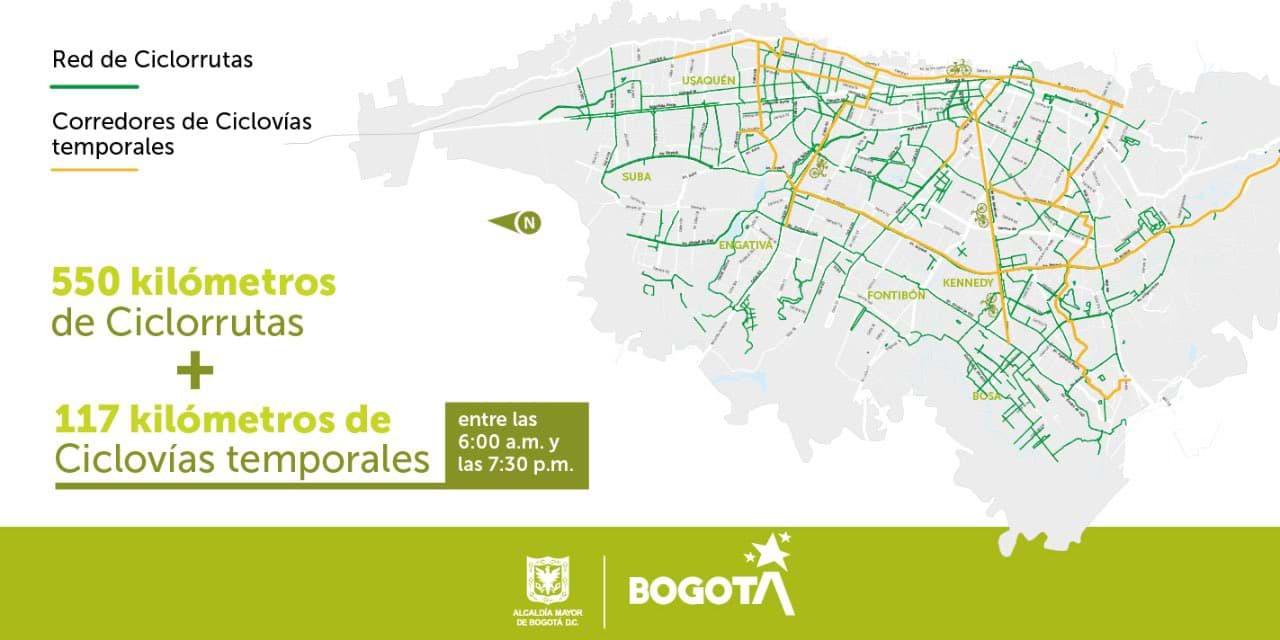 Mapa 117 kilómetros de CICLOVÍAS TEMPORALES en Bogotá