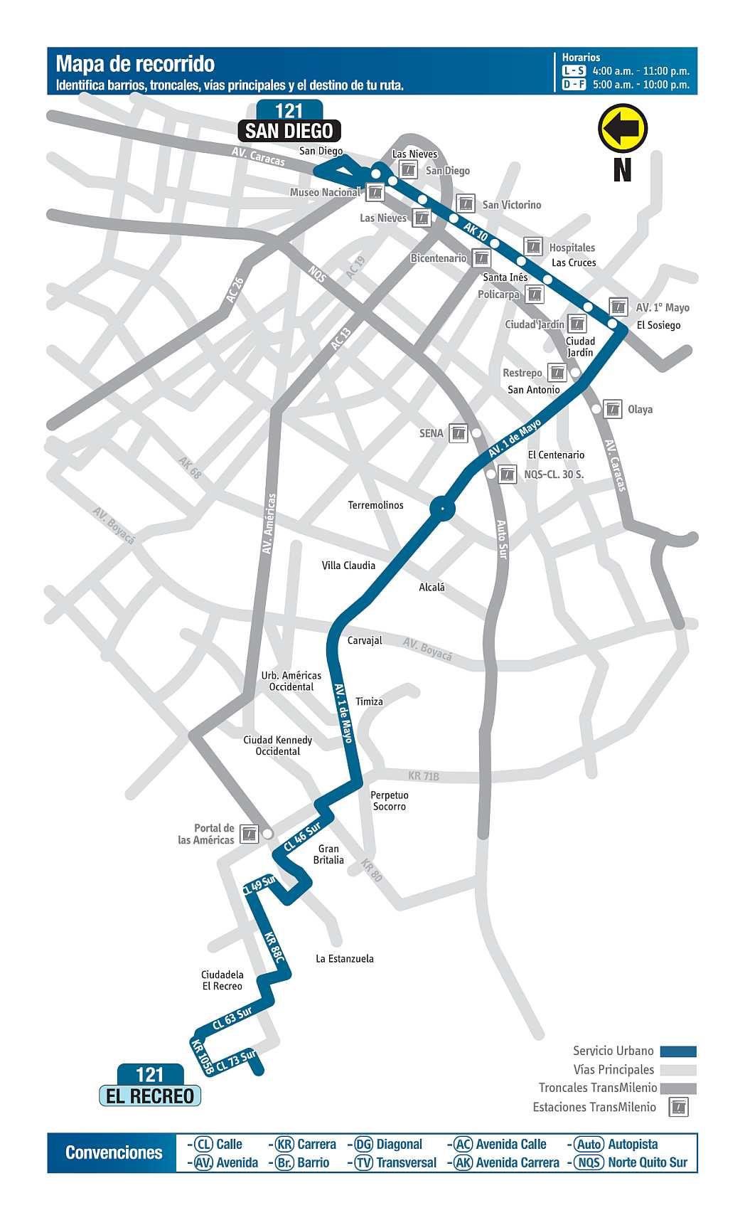 121 El Recreo - San Diego, ruta bus urbano Bogotá