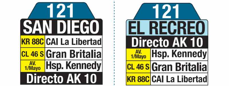 121 El Recreo - San Diego, tablas y letreros bus urbano SITP