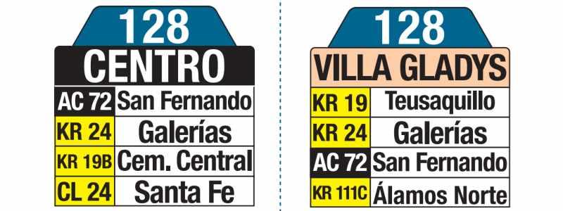 128 Centro - Villa Gladys, tablas y letreros bus urbano SITP