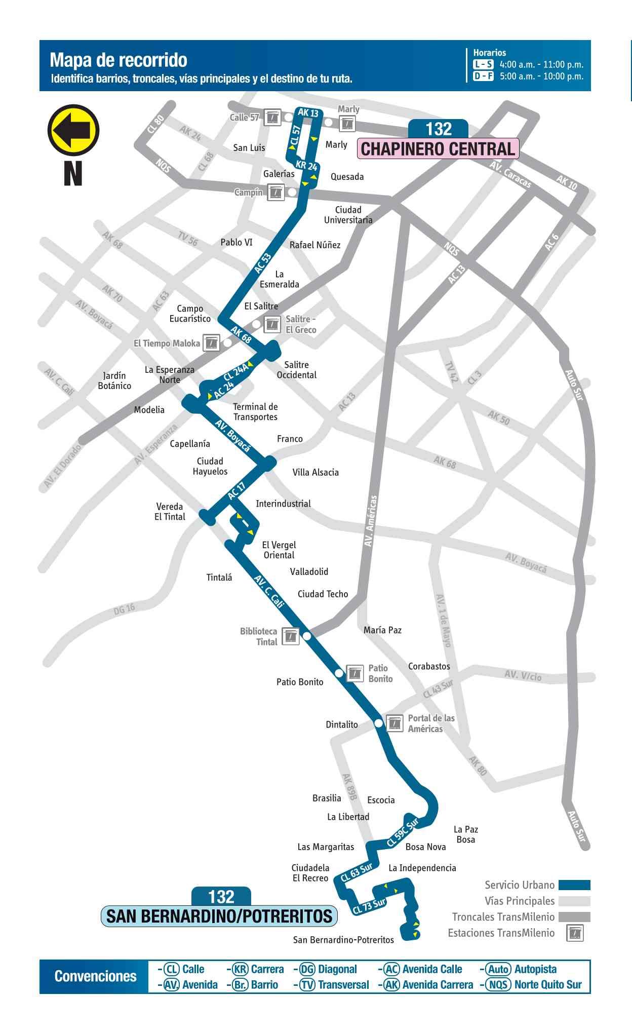 132 San Bernardino Potreritos - Chapinero Central, ruta bus urbano Bogotá