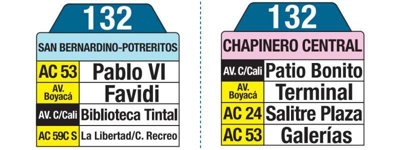 132 San Bernardino Potreritos - Chapinero Central, tablas y letreros bus urbano SITP