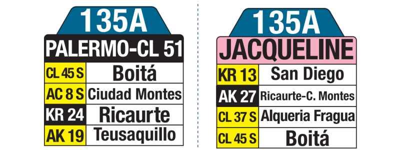 135A Jacqueline - Palermo. Calle 51, tablas y letreros bus urbano SITP