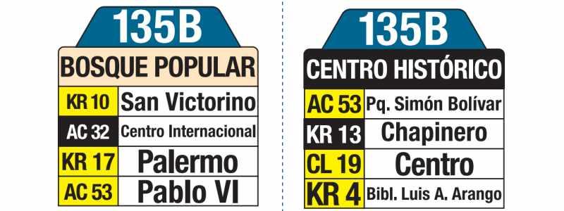135B Bosque Popular - Centro Histórico, tablas y letreros bus urbano SITP