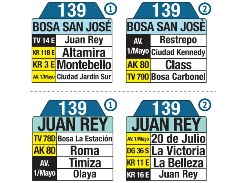 139 Bosa San José - Juan Rey, tablas y letreros bus urbano SITP