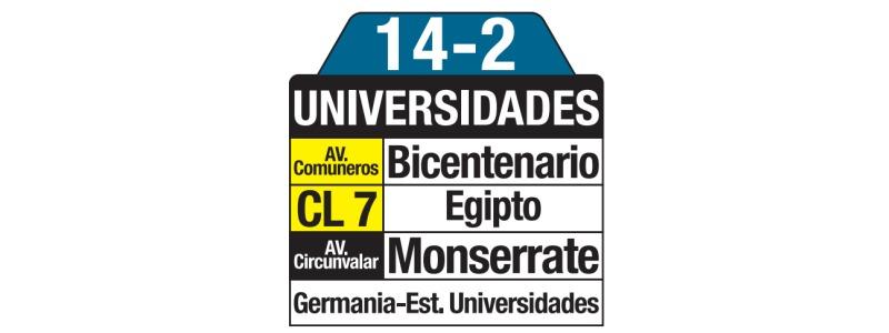 Tablas bus urbano: 14-2 Universidades