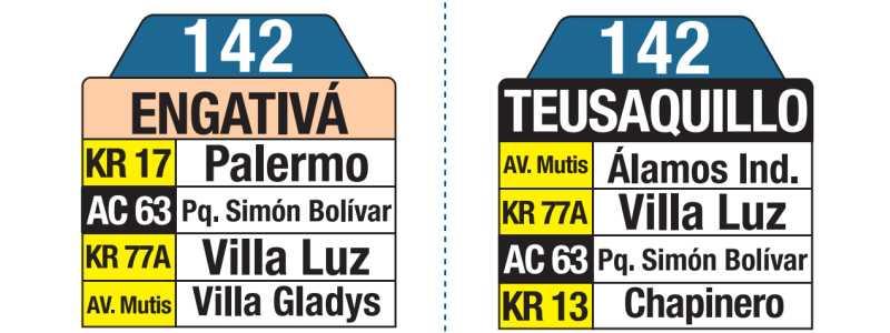 142 Engativá - Teusaquillo, tablas y letreros bus urbano SITP