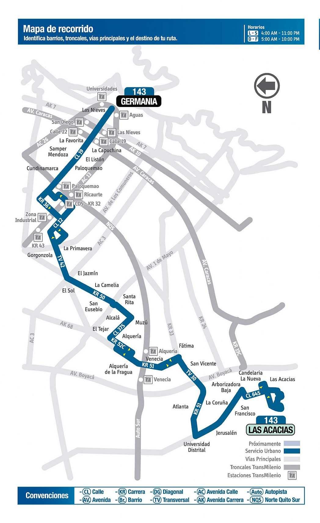 143 Las Acacias - Germania, ruta bus urbano Bogotá