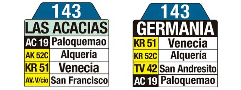 143 Las Acacias - Germania, tablas y letreros bus urbano SITP