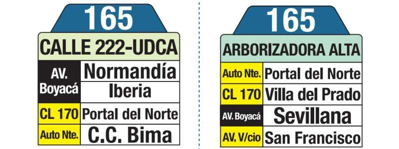 165 Arborizadora Alta - Calle 222- UDCA, letrero tabla bus del SITP