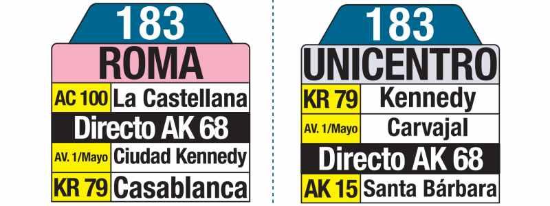 183 Roma - Unicentro, letrero tabla bus del SITP